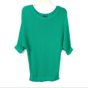 Express Green Knit Short Sleeve Sweater Size M